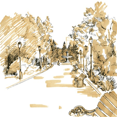 walkway of park with lanterns, benches and fountain in the distance, hand drawn sketch of urban landscape, vector illustration