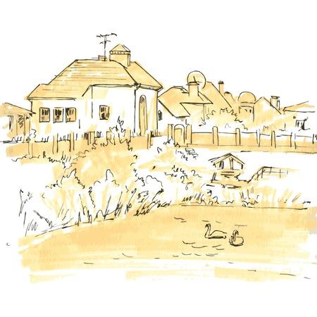 lijntekening: lijntekening platteland, schets van het dorp, huizen, tuinen en een meer, zwart-wit hand getrokken vector illustratie