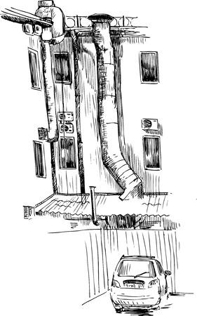 backyard: urban sketch, drawing backyard, old walls and car , color hand drawn vector illustration