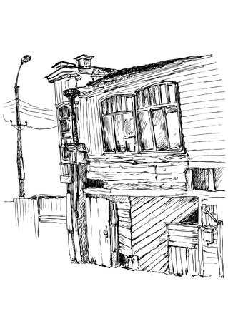 boarded: urban sketch, old abandoned wooden house with boarded doors and broken windows , linear hand drawn vector illustration