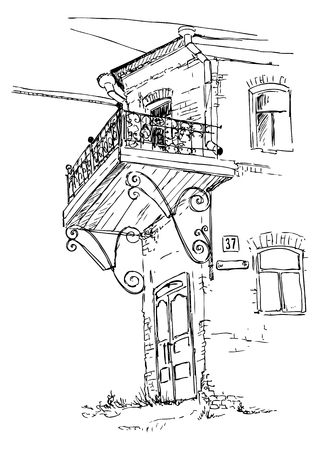 boarded: urban sketch, old two-storey house with an openwork balcony, hand drawn vector illustration Illustration