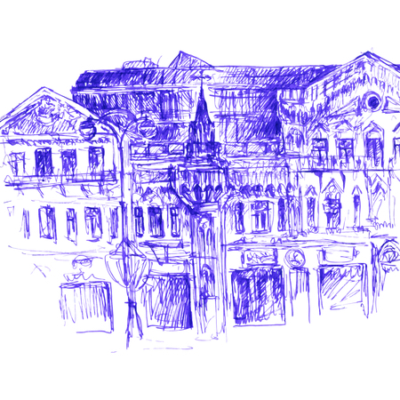 spire: urban sketch, city street, facade of the old house with windows, roofs and tower with a spire, color hand drawn vector illustration