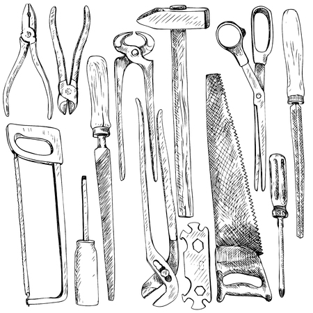 tongs: Hand drawn tool kit, set of instruments,various saws, files, pliers and tongs, hammer and scissors, linear ink drawing vector elements