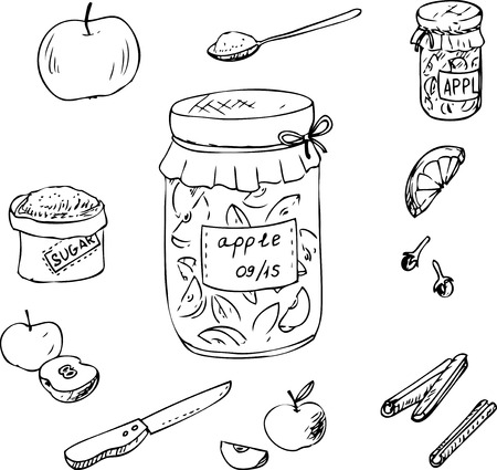 apple cinnamon: Doodle set for apple jam, half and whole apples, knife, bag of sugar, spices and bank of jam,  hand drawn vector elements Illustration