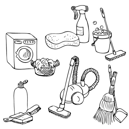 Doodle set for home cleaning, laundry and washing, hand drawn vector elements Illustration