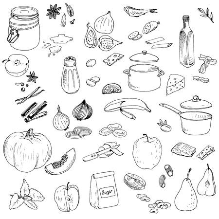 dibujos lineales: Conjunto de los alimentos de vectores, elementos vectoriales dibujo de tinta