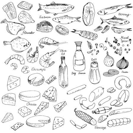 peces: carne, pescado y queso, Conjunto de los alimentos de vectores, elementos vectoriales dibujo de tinta Vectores