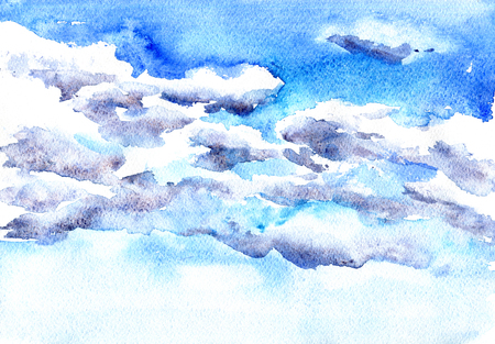 clouds blue sky: watercolor drawing clouds in blue sky, hand drawn artistic painting illustration,abstract watercolor background