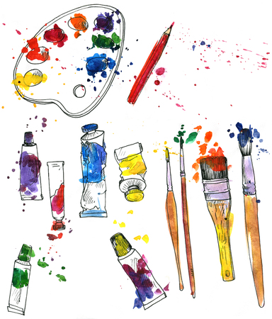 art materials: artistic painting set of art materials, drawn by watercolor, palette, isolated art supplies, tubes of paint, brushes and paint stains, accessories for drawing and painting, hand drawn illustration, artistic background