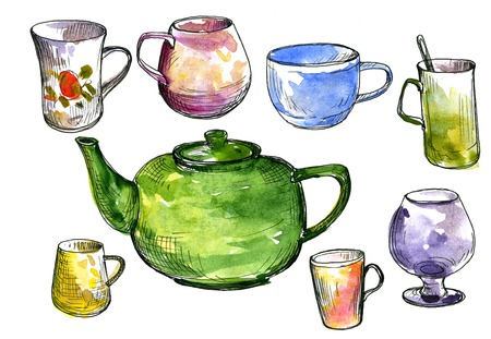faience: set of  teacups and teapot drawing by ink and watercolor, hand drawn artistic painting illustration