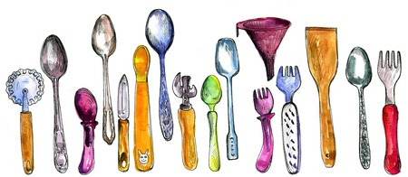 can opener: set of kitchen utensils drawing by watercolor and ink, hand drawn  illustration, artistic painting background