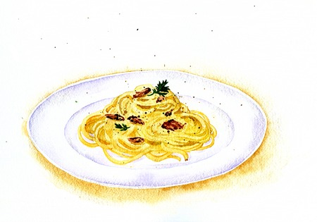spaghetti dinner: artistic painting  illustration of spaghetti carbonara drawing by watercolor