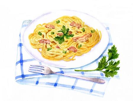 水彩で描くスパゲッティ カルボナーラの芸術の絵画イラスト 写真素材