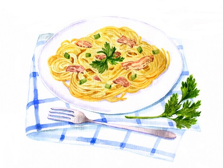 artistieke schilderen illustratie van spaghetti carbonara tekening van aquarel Stockfoto