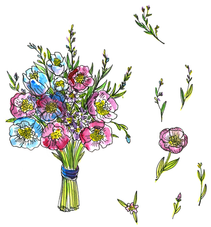 simplify: watercolor drawing bouquet of flowers, hand drawn artistic painting illustration