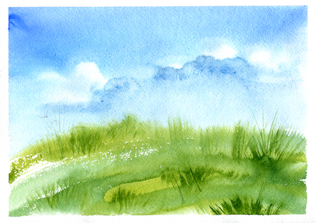 green fields: meadow grass and blue sky with clouds, abstract watercolor landscape