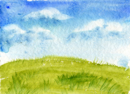 absract art: meadow grass and blue sky with clouds, abstract watercolor landscape