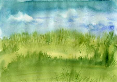 meadow  grass: pradera de c�sped y cielo azul con nubes, el paisaje de acuarela abstracta