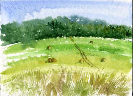 absract art: field with haystacks,road  and forest,abstract watercolor landscape Stock Photo