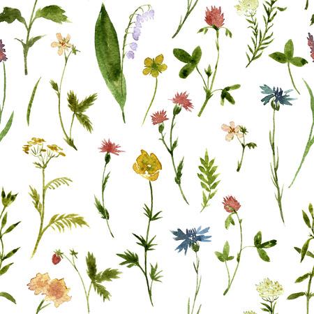 Naadloos bloemenpatroon met waterverftekening kruiden en bloemen, artistieke schilderen bloemen achtergrond