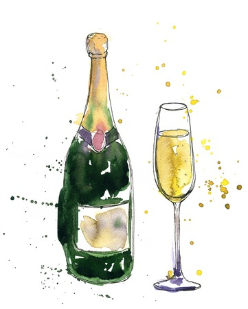 artistic illustration of alcohol drink, champagne bottle and glass, drawing by watercolor and ink, hand drawn illustration