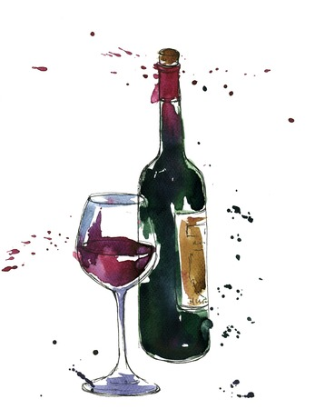 artistic illustration of alcohol drink,wine bottle and glass, drawing by watercolor and ink, hand drawn illustration
