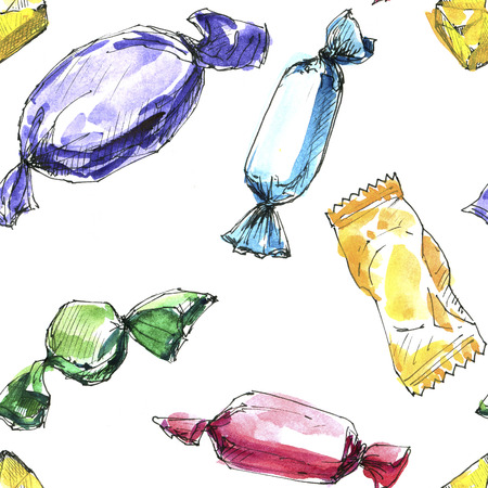 caramel candy: seamless pattern with watercolor drawing candies at white background, hand drawn background