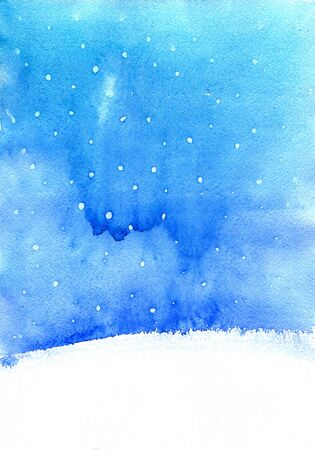 cristmas card: abstract watercolor landscape  with falling snow, winter watercolor backround fo new year or cristmas card,  blue and white backdrop, hand drawn illustration