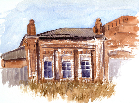 brick house: watercolor sketch of old red brick abandoned house with three windows and thickets of dry grass in the foreground, hand drawn watercolor illustration Stock Photo