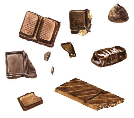 set van chocolade tekening van aquarel op een witte achtergrond, met de hand getekende ontwerp elementen, kruidnagel en anijs, kaneel en nootmuskaat, paprika en peper illustratie Stockfoto