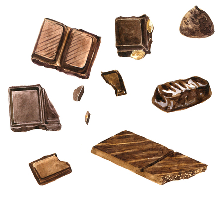set of chocolates drawing by watercolor at white background, hand drawn design elements, cloves and anise, cinnamon and nutmeg, paprika and pepper illustration