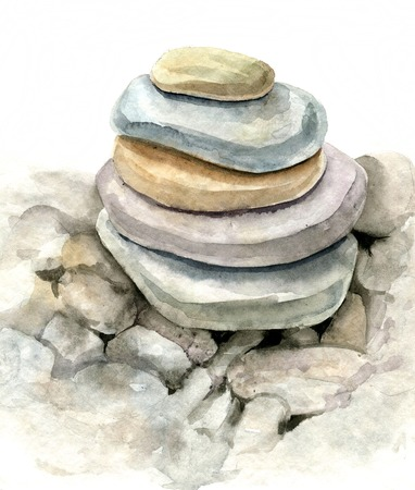 spa still life: round sea stones drawing by watercolor, stones, lying on one another, cairn, hand drawn artistic painting illustration Stock Photo