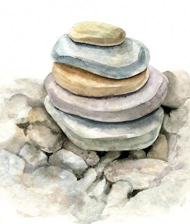 Runde Seesteinen durch Aquarellzeichnung, Steine, auf einander liegenden, Cairn, Hand künstlerische Malerei Illustration gezeichnet Standard-Bild