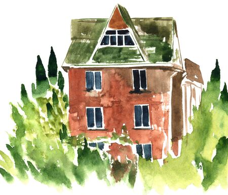 green roof: watercolor brick house with a green roof surrounded by trees, hand painted cottage, hand drawn artistic painting illustration