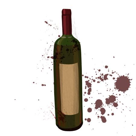 red wine bottle: botella de vino tinto, ilustraci�n vectorial de color con pintura staines Vectores