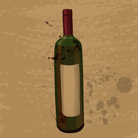 red wine bottle: red wine bottle drawing at grunge background, colored vector illustration with paint staines