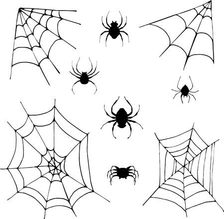 spinnen en spinnenwebben, set van halloween ontwerp elementen Stock Illustratie
