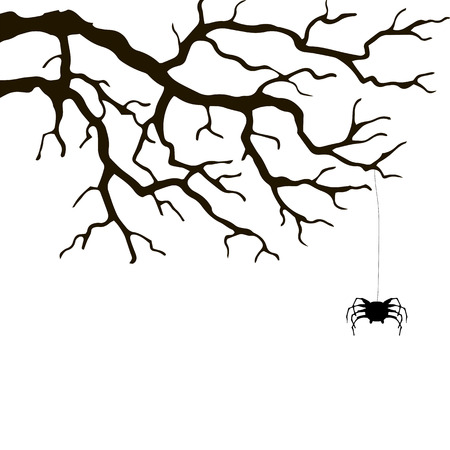 web graphics: branch and spider, hand drawn monochrome silhouette vector illustration