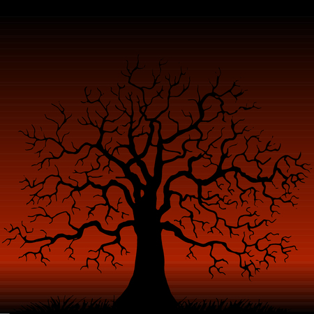grass background: Silhouette of  tree without leaves at red background, winter tree, hand drawn vector illustartion