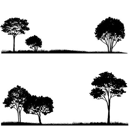 boom: Silhouet van de boom en het gras, landschappen sjabloon, met de hand getekende vector illustartion Stock Illustratie