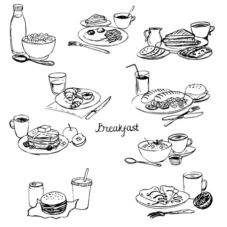 breakfasts set, homemade dishes, ink drawing menu vector set Illustration