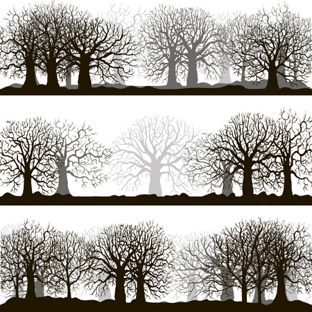 hornbeam: winter forest landscapes, silhouette of trees and grass, landscapes template, hand drawn vector illustartion