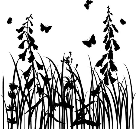 wild flowers: grass silhouettes,  wild flowers, herbs and leaves,  wild plants and butterflies, monochrome vector floral background