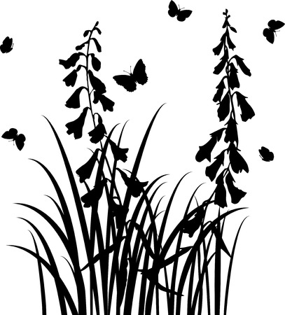 wild grass: grass silhouettes,  wild flowers, herbs and leaves,  wild plants and butterflies, monochrome vector floral background