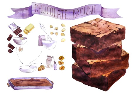 chocolate brownie: pieces of chocolate brownie  drawn by watercolor, hand drawn artistic painting illustration, aquarelle dessert