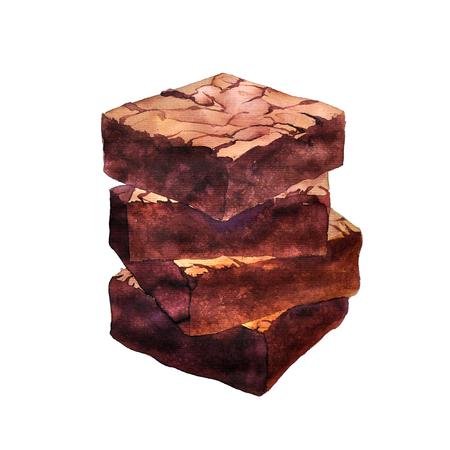 チョコレートブラウニー aquarelle デザート、手描き芸術の絵画イラスト水彩描き下ろしの作品 写真素材