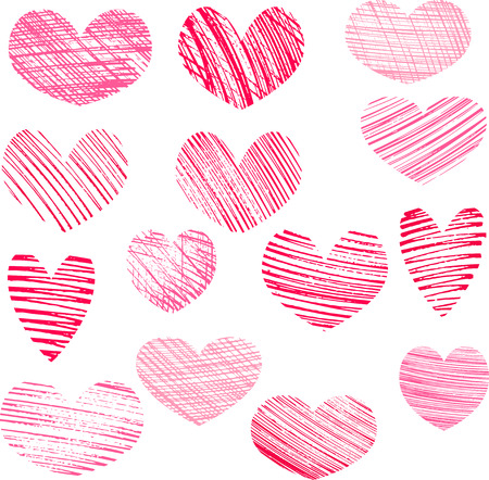 hatching: hearts, valentines symbols, big set of hatching hearts isolated at white background