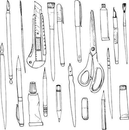 art materials: stationery, art materials, line drawing pens and pencils,  tubes of paint, brushes, hand drawn vector illustration Illustration