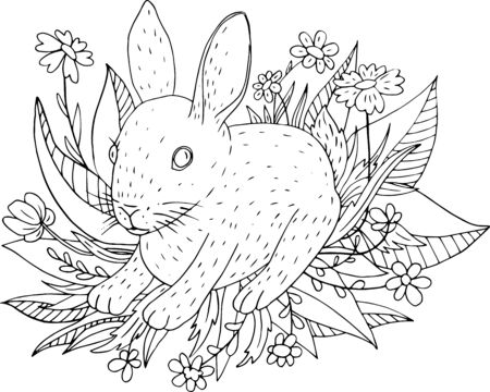 timid: little cute hare sitting in the grass, hand drawn vector illustration Illustration