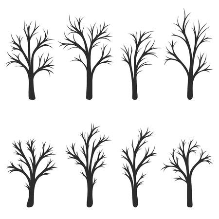arbres silhouette: silhouette des arbres à feuilles caduques, sans feuilles, illustration vectorielle